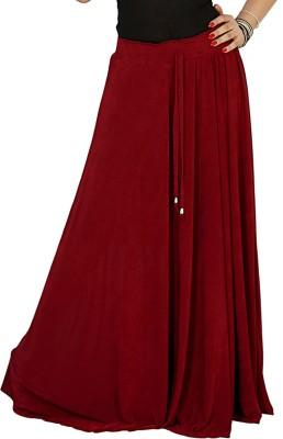 Sringar Solid Women's Regular Maroon Skirt