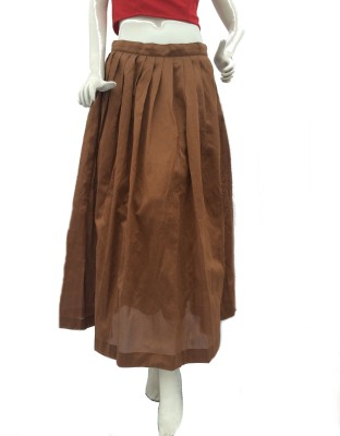 Jupi Solid Women,s Pleated Brown Skirt