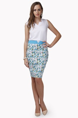 Glam & Luxe Floral Print Women's Pencil Light Blue, White Skirt