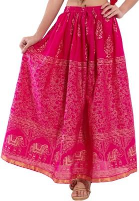 Kanak Animal Print Women's Regular Pink Skirt