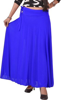 Ace Solid Women's A-line Blue Skirt