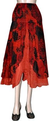 Shilimukh Floral Print Women's Asymetric Red Skirt