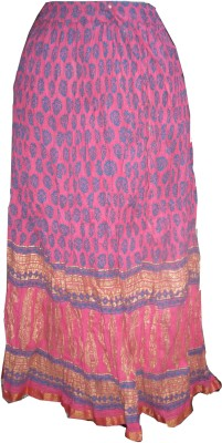 Vg store Printed Women's Regular Pink Skirt