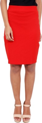 2 Sisters Solid Womens Straight Red Skirt