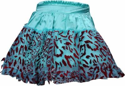 Bio Kid Embellished Girl's Gathered Light Blue, Red Skirt