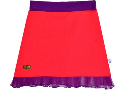 Lil Orchids Solid Girl,s A-line Pink Skirt