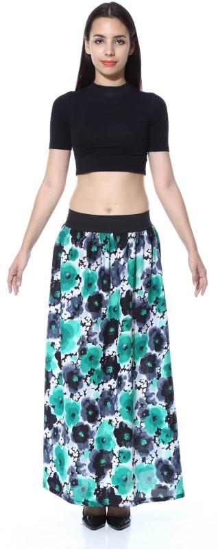 FabnFab Floral Print Women's A-line Green, Black Skirt