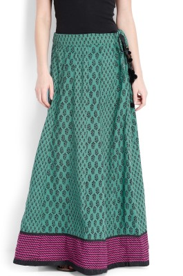 Folklore Printed Women,s Straight Dark Blue, Pink Skirt