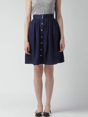 Mast & Harbour Solid Women's A-line Dark Blue Skirt