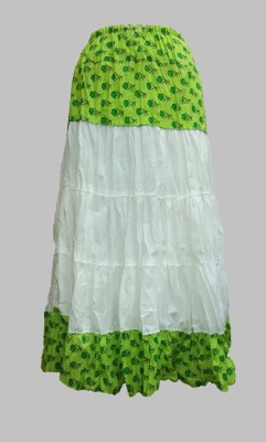 B VOS Self Design Women's Regular Green Skirt