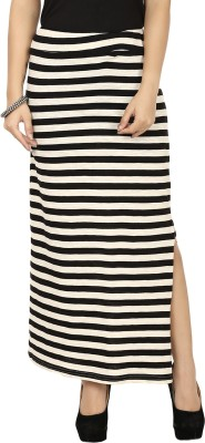 G & M Collections Striped Women's A-line Black, White Skirt