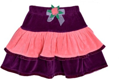 Lil Orchids Solid Girl's Tiered Purple Skirt