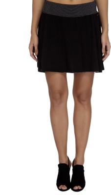 Meish Solid Women's A-line Black Skirt