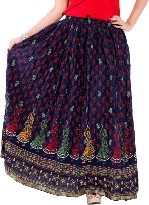 Decot Paradise Printed Women's Regular Dark Blue Skirt