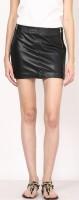 Aditi Wasan Solid Womens Straight Black Skirt