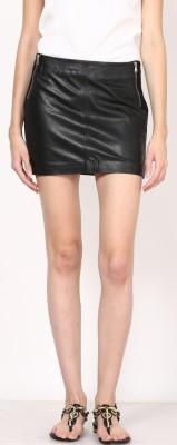 Aditi Wasan Solid Women,s Straight Black Skirt