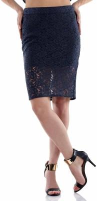 Fuziv Self Design Women's Pencil Blue Skirt