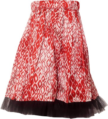 Parv Collections Printed Girl's Regular Red Skirt
