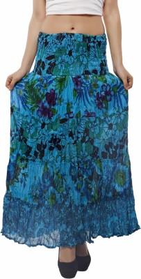 Indi Bargain Floral Print Women's A-line Light Blue Skirt