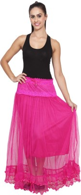 NumBrave Self Design Women's Layered Purple Skirt