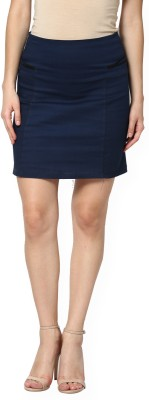 Pera Doce Solid Women's Straight Dark Blue Skirt