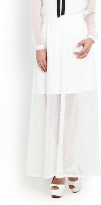 Pera Doce Solid Women's Regular White Skirt
