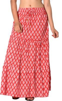 SBS Printed Women's Tiered Red Skirt