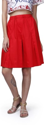 GarrB Solid Women's Pleated Red Skirt