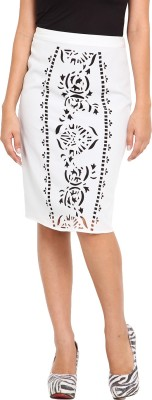 Ama Bella Solid Women's Pencil White Skirt