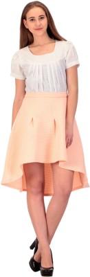 CHKOKKO Solid Women's A-line Pink Skirt