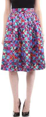 Roving Mode Polka Print Women's Pleated Multicolor Skirt