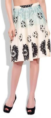 Eves Pret A Porter Graphic Print Women's A-line Beige Skirt