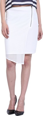 Leo Sansini Striped Women,s Straight White Skirt