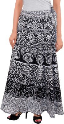 Feminine Animal Print Women's Wrap Around Black Skirt