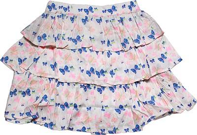 Blue Giraffe Printed Girl's Tiered White Skirt