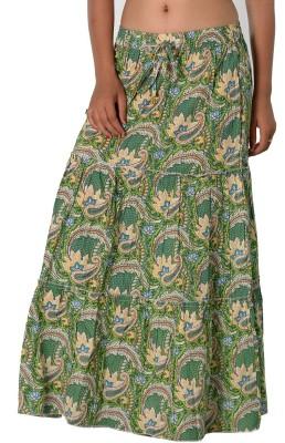 SBS Paisley Women's Tiered Light Green Skirt