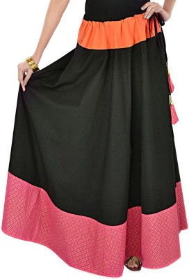 Navyou Solid Women's A-line Black Skirt