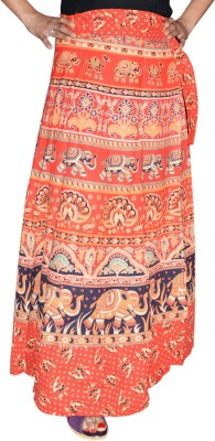 Marusthali Printed Womens Wrap Around Red Skirt