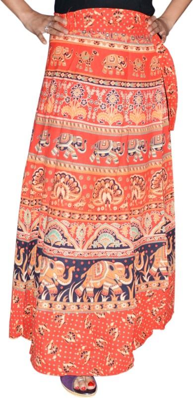 Marusthali Printed Women's Wrap Around Red Skirt
