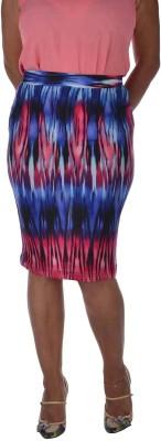 Am-N-More Printed Women's Pencil Blue, Pink, Purple Skirt