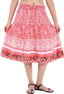 Urban Religion Printed Women's A-line Red Skirt
