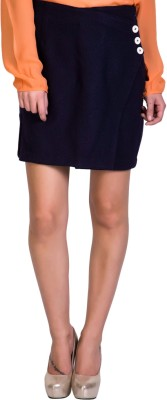 Sugar Her Solid Women's Pencil Dark Blue Skirt