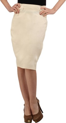 Cottinfab Solid Women's Straight Beige Skirt