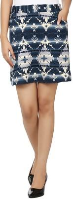 Aussehen Printed Women's Straight Blue, White Skirt