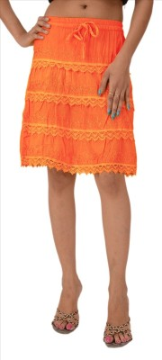 Skirts & Scarves Embroidered Women's A-line Orange Skirt
