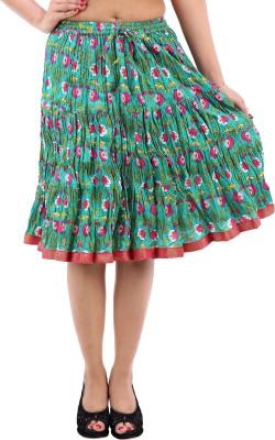 Desert Eshop Floral Print Women's A-line Blue Skirt