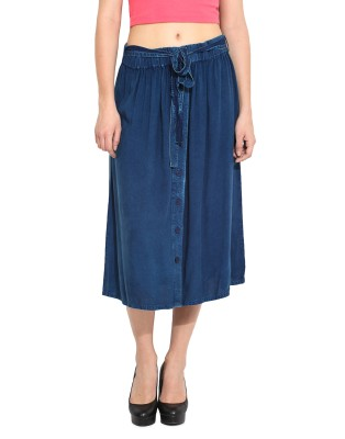 Free & Young Solid Women's Pleated Dark Blue Skirt