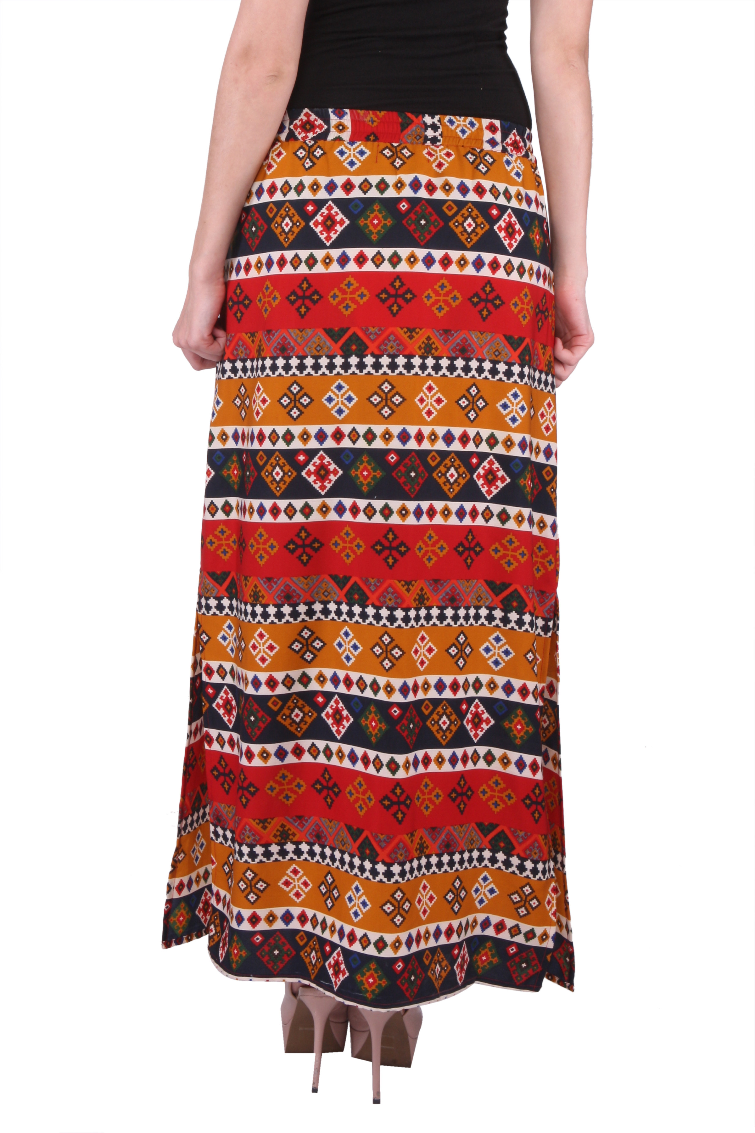 Purys Printed Womens Straight Multicolor Skirt