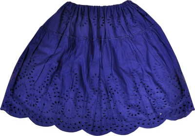 Sunbright Solid Girl's Gathered Blue Skirt