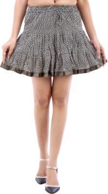 Desert Eshop Checkered Women's A-line Black Skirt